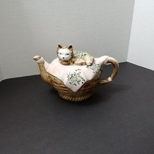 Ceramic Cat in a Basket Teapot From Andrea